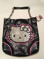 New Authentic Hello Kitty Black & Silver Glitter Face Shoulder Bag W/Chain Strap