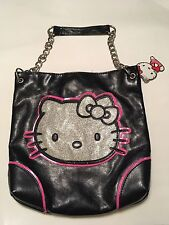 New Authentic Hello Kitty Black & Silver Glitter Face Shoulder Bag W/Chain Strap