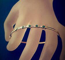 Light Weight Soft 10k Fine Gold Set 5 Emeralds  4 Diamonds Oval Bangle Bracelet