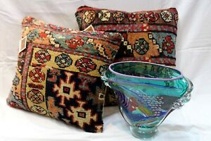 Pair of Handmade Antique Pillows made out of Antique Caucasian Kazak Rug