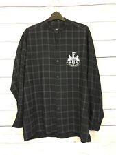 Newcastle United Size M Black Check Shirt Long Sleeved Buttons Collarless
