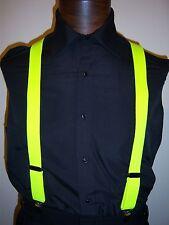 NEW Neon Suspenders- Mens Elastic - Neon Color - Pink, Orange, Lime, Lemon & Red