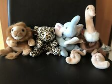 Ty Beanie Baby Wild Animals Lion, Leopard, Ostrich And Elephant Soft Toys