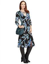 New M&S Per Una Blue Floral Lorrie Mock Wrap Dress Sz UK 10