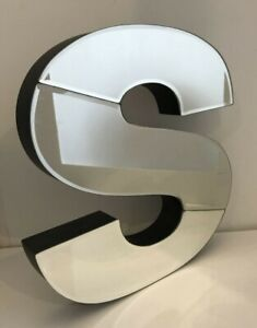 "Mirrored Monogram ""S"" Letter Wall Decor 3-D 12"""