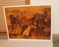 Mid Century Mod Wood Block Print - Knights in Battle Helen Schoenheilder 7/15