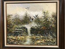 Marsh Ducks Country Waterfall Fall 24X20 Bold Landscape Oil Painting Art Framed
