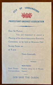 City of Londonderry Protestant Unionist Association meeting UDA UVF IRA UFF