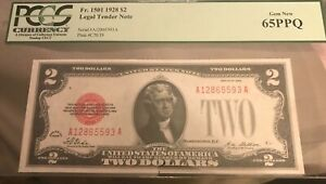 1928  $2 Legal tender note Red seal  PMG 65 ppq