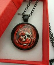 DRAGON & SKULL BLACK NECKLACE 22 INCH CHAIN GOTH / STEEMPUNK STYLE WITH GIFT BOX