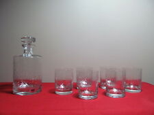 Crystal Etched Decanter and Sixs Tumblers