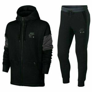 Nike Air Tracksuit Fleece Hoodie Joggers Sweatpants Hoody Bottoms Black New Mens
