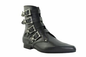 Steel Ground Black Leather Winklepicker Goth Boots 4 Straps Skull Buckle