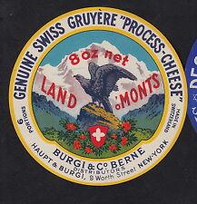 Ancienne  étiquette Fromage  Suisse  BN10338 Gruyère Oiseau Aigle