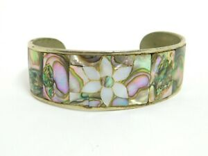 Vintage Southwestern Inlaid Abalone Flower Design Cuff Bracelet Mexico