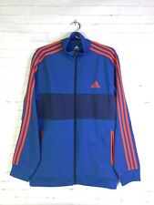 Adidas Mens Large Blue Orange 3 Stripes Activewear Track Jacket Full Zip Pockets