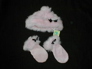 VHTF Vintage GYMBOREE PINK FLUFF NWT Hat and EUC Mittens~MUST SEE!~WOW!!!