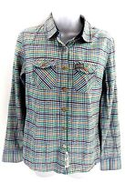 SUPERDRY Womens Shirt S Small Orange Green Brown Blue White Check Cotton