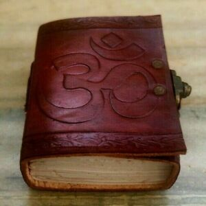 Leather Writing Journal, Om Embossed Refillable Diary With Lock, Locked Notebook