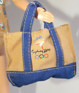 BAG MATTEL BARBIE DOLL SYDNEY OLYMPICS 2000 BROWN BLUE BAG TOTE ACCESSORY