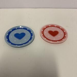 RARE Vintage Kitchen Little Heart Plates