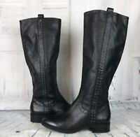 Sam Edelman Prina Black Leather Studded Riding Knee High Boots
