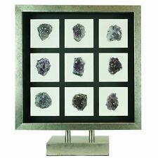 Natural Purple Amethyst Quartz Crystal Geode Shadow Box