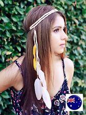 Women BOHO Syn suede Beige Feather Braided Hair head band Wrap Headband Prop