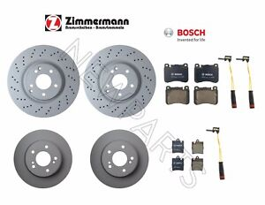 For Mercedes W203 C240 C320 Front and Rear Brake Disc Rotors Pads & Sensors KIT