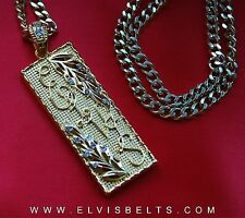Elvis Style Vine Leaf Pendant and Chain