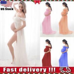 ⭐Pregnant Women Off Shoulder Lace Long Dress Gown Maternity Prop Maxi Dresses US