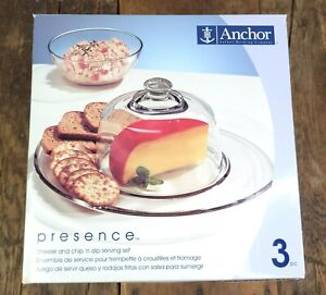 Anchor Hocking 3 Piece Cheese and Dip Set 2002 IN BOX