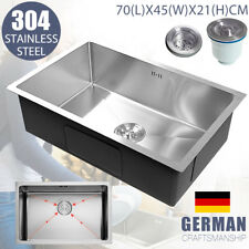 Single Square Handmade 304 Stainless Steel Kitchen Sink Undermount 70cm x 45cm