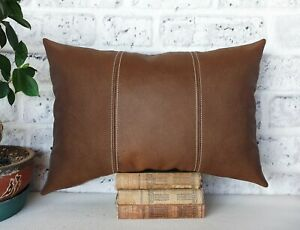 Brown three-piece model faux lether  lumbar pillow cover -1qty