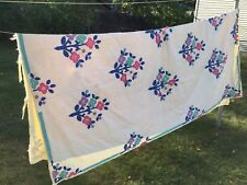"Vintage Hand Stitched Flower Applique Cutter Quilt - 89"" x 75"" Crafts"