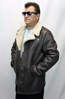 Men 100% Real Sheepskin Shearling Leather Trench Car Coat Jacket Taupe S-6XL NWT