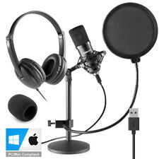 More details for usb studio microphone for pc mac recording with stand, headphones cmts300 vh100