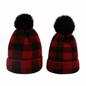 2PC Winter Knit Hat,Matching Plaid Hat Mommy and Baby Beanie Hat