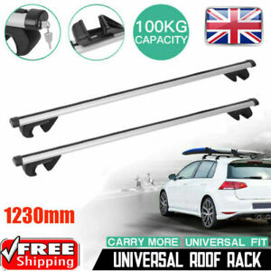 Universal Lockable Aluminium Car Roof Rack Bars Rail Anti Theft Luggage Carrier