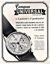PUBBLICITA' 1940 OROLOGIO COMPAX UNIVERSAL GENEVE CRONOGRAFO SPORT PILOTI