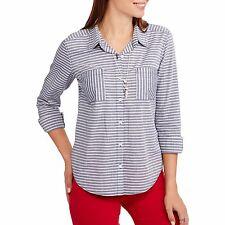 6c1b492b Faded Glory Women's Size XL 16-18 Long Sleeve Button Down Striped Shirt .
