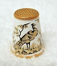 Older Thimble Metal Enamel Austria Gold & Black Peacock Bird on Cream M3