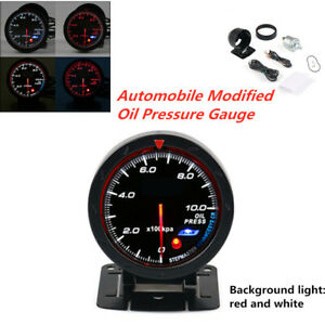 General 12V Automobile Modified Oil Pressure Gauge 0-1000kpa Meter Kit W/Support