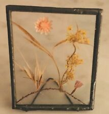 """Vintage small self standing glass framed Dried Flower picture - 2 x 2 1/2"""""""