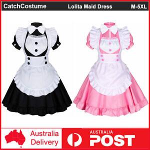 Japanese Anime Lolita Maid Dress Sweet Cute Women Girls Waitress Cosplay Costume