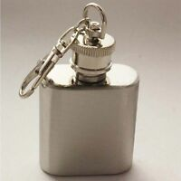 1pc/lot silver stainless steel key chain wine bottle flask 1OZ Mini flask