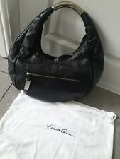 Kenneth Cole black super soft genuine leather medium handbag hobo bag with dust