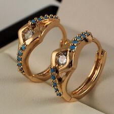 Elegant 18ct Gold Filled Turquoise CZ 16mm Huggie Hoop Sleeper Earrings 182