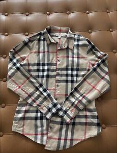 Burberry Brit Women Shirt Beige Multicolor Long Sleeves Size M (38)
