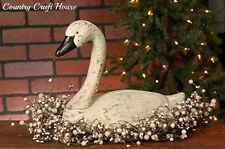 New Primitive Country Folk Art Carved Resin Large WHITE GOOSE Duck Swan Decoy